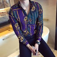 052612506新款秋装韩国个性立体花色长袖衬衫男士打底衬衣发型师寸衫潮