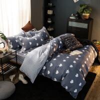 福存家居 全棉四件套床笠式单人床加大双人床床罩被套枕套冬保暖