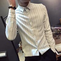 秋季韩版长袖衬衣男英伦修身条纹休闲衬衫个性潮流发型师寸衫免烫