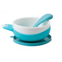 FARLIN华林贝比宝宝辅食碗婴儿餐具吸盘碗配硅胶汤匙防摔易清洗 蓝色/粉色/绿色