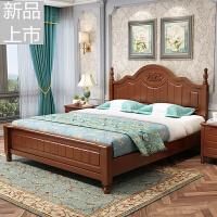 美式�l村��木床1.8米�p人床��s�F代主�P室�W式床1.5米白色公主床定制 +乳�z床� 