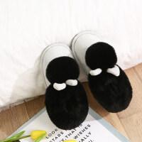 棉拖鞋女季韩版家居保暖厚底室内可爱包跟棉拖鞋毛毛拖鞋