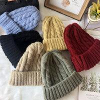 韩版百搭潮纯色帽子女 学生加厚保暖毛线帽 甜美可爱针织帽子女 粗麻花单层毛线帽