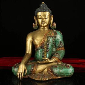 纯铜纯手工打造镶嵌宝石彩绘描金密宗释迦摩尼佛祖一尊