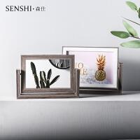 北欧极简家居相框摆台双面实用镜子相框6寸影楼摆设桌面装饰相框