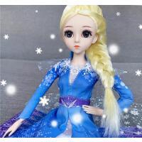 冰雪奇�2公主玩具女孩芭比洋娃娃套�b艾莎�凵�周�玩偶�Y物