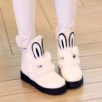 童鞋女公主短靴兔兔鞋韩版秋冬季小女孩棉靴可爱毛靴女童靴子