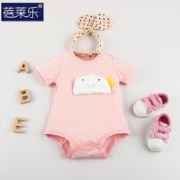 婴儿连体衣2季三角哈衣新生儿01岁3个月短袖季包屁衣睡衣