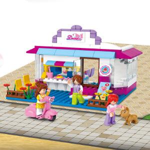 【当当自营】小鲁班新粉色梦想小镇女孩系列儿童益智拼装积木玩具 浓情饮品屋M38-B0528