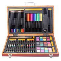 雄狮82件木盒礼盒 素描 水彩 创作 水彩笔套装礼盒蜡笔 画笔 木盒黑白派850A