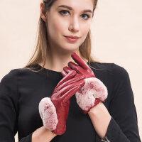 真皮手套女獭兔毛腕口时尚优雅加绒加厚保暖防风御寒羊皮手套