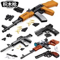 兼容legao积木枪拼装军事系列吃鸡组装小颗粒男孩子玩具绝地求生武器拼装积木不可发射