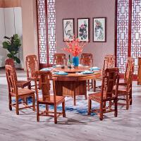 家具圆餐桌椅组合木家用实木吃饭圆台桌子餐厅轻奢全记 +6个椅子