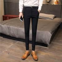 长裤男英伦西裤男士休闲小脚裤子春季新款潮流修身男裤青年黑色潮