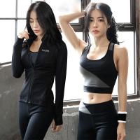 瑜伽服套装女带胸垫运动跑步背心健身服夏季两件套背心两件背心d
