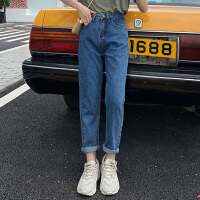 牛仔裤 女士高腰宽松卷边九分裤2020秋季新款韩版时尚女式休闲洋气牛仔裤女装直筒裤
