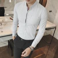 男士长袖衬衫修身青年韩版发型师休闲商务潮流男装秋季条纹衬衣