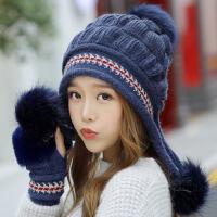 帽子女保暖毛线大毛球半指手套两件套加绒针织护耳可爱学生潮