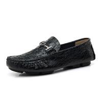 新品 秋冬季鳄鱼纹豆豆鞋加绒保暖鞋棉鞋休闲皮鞋小码36-50大码男鞋47 48 4