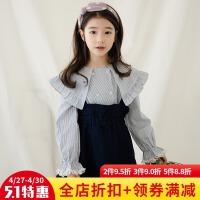 童装套装2018春季韩版洋气女童两件套时尚条纹上衣+背带裙潮童