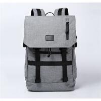 男士双肩包时尚潮流背包男大学生书包大容量电脑包休闲旅游旅行包 浅灰色