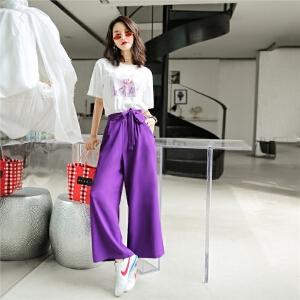 七格格高腰阔腿裤女夏装2018新款学生韩版宽松裤子紫色运动裤