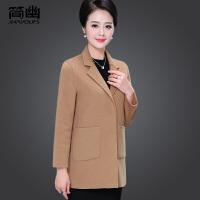 中年女冬装时尚毛呢大衣40-50岁妈妈呢子外套短款中老年春秋风衣
