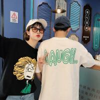 新款情侣装夏装潮流宽松半袖圆领上衣韩版卡通印花潮T恤