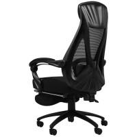 黑白调电脑椅家用老板椅子商务人体工学转椅电竞椅游戏可躺办公椅 尼龙脚 旋转升降扶手