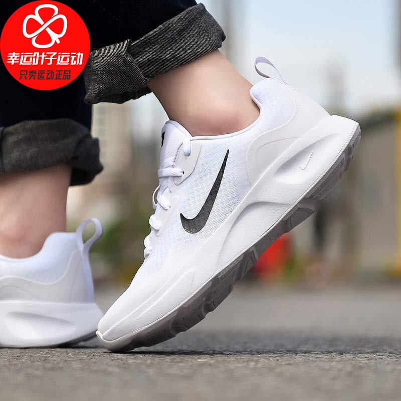 Nike耐克女鞋秋季新款透气轻便休闲运动跑步鞋CJ1677-100 织物与合成材质鞋面泡棉中底华夫格橡胶大底