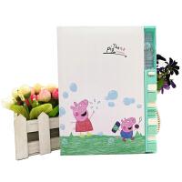 韩国创意可爱小猪佩奇钢琴键密码本中小学生卡通时尚彩页日记本记事本笔记本