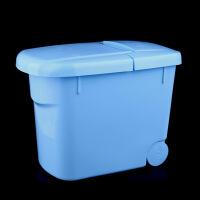 家英新款带盖带滑轮10KG米桶-蓝色(A215-1)