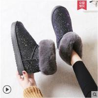 女式雪地靴女短筒网红一脚蹬加厚新款加绒棉鞋子短款短靴女冬