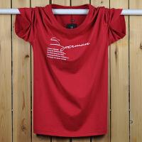 加肥加大男装棉短袖T恤加大码加大号胖人胖子肥佬半袖宽松体恤 酒红色 S【建议95-115斤】