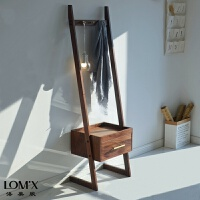 北欧云梯床头柜创意小户型沙发边几边柜胡桃木收纳柜衣帽架储物柜 组装
