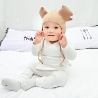 婴儿套装0岁4个月男童冬装加绒加厚女童宝宝洋气衣服春秋装