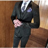 气质男士西服三件套装修身西装套装英伦免烫潮男新郎结婚礼服套装