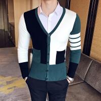 秋季V领针织衫男士开衫外套韩版修身撞色单排扣毛衣潮流线衣