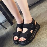 夏季运动凉鞋2017新款女鞋厚底魔术贴松糕底韩版学生鞋平底鞋