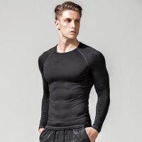 男士长袖t恤圆领黑色弹力紧身纯色修身白色 健身运动速干体恤