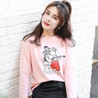 秋冬季新款女装秋装韩版宽松长袖T恤女百搭卡通印花外穿上衣服
