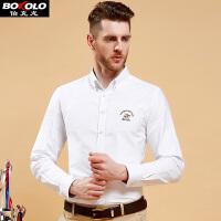 伯克龙 夏季短袖衬衫男士 新款男装 修身免烫素色大码商务休闲薄款棉蓝色衬衣 L016