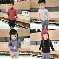 2017韩版冬装女童加绒加厚毛衣婴儿童打底衫坑条针织衫1-2-3岁4潮
