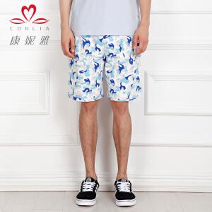 康妮雅夏季新款男装 男时尚个性迷彩色休闲运动短裤