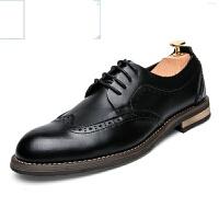 新品新款雕花男鞋春夏时尚商务休闲鞋英伦低帮男鞋布洛克正装皮鞋青年潮鞋透气黑色男婚鞋