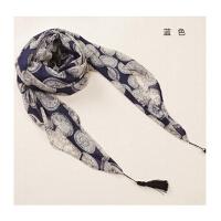 春秋新款丝巾 女士冬季百搭围脖长款时尚印花围巾披肩两用