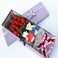 花语叶情 鲜花速递 11支红玫瑰花束卡通小熊玫瑰礼盒包装 送爱人 送情侣送闺蜜生日鲜花节日鲜花全国同城鲜花店送花
