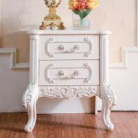 欧曼尼 欧式床头柜储物柜实木收纳柜子简约法式床头柜 欧式床头柜 组装