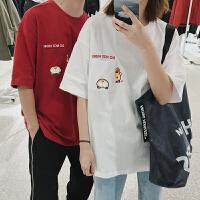 情侣装夏季新款韩版风休闲宽松印花套头圆领潮男短袖T恤衫