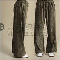 灯芯绒太极裤男女练功裤灯笼瑜伽抽绳太极服装加厚长裤
